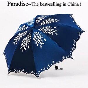 Umbrella Women Fold UV Sun Parasol Convenient Girls Travel Parapluie Flower Female Umbrellas Fashion Leaves Clear Umbrella(China)
