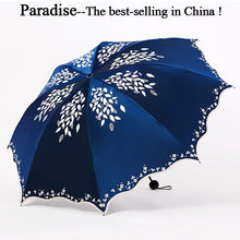Umbrella Women Fold UV Sun Parasol Convenient Girls Travel Parapluie Flower Female Umbrellas Fashion Leaves Clear Umbrella(China)