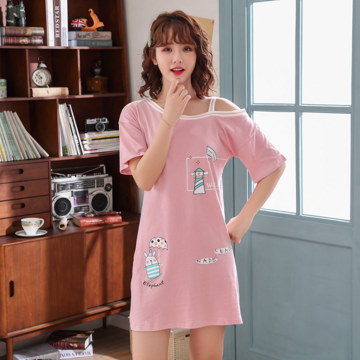 204 Korean-style Pure Cotton Couples Pajamas Women's Summer Short-sleeved Umbrella Rabbit Nightgown Men Cotton Homewear Set