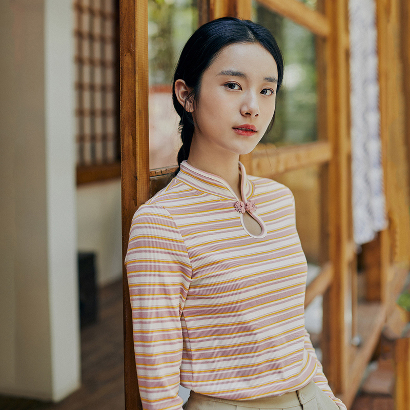 INMAN, весна 2020, Новое поступление, литературный ретро стиль, уникальный воротник-стойка, полосатый узор, Женская Удобная футболка