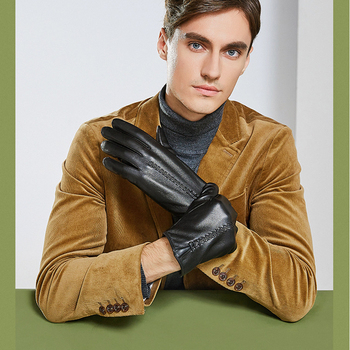 Genuine Leather Gloves Male Autumn Winter Plus Velvet Thicken Touch Screen Driving Sheepskin Gloves Men Keep Warm ZX8013 genuine leather gloves men winter warm plus velvet thick sheepskin fashion new driving leather gloves gr 206 5