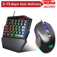 Portable One-Handed Mechanical Gaming Keyboard 6400 DPI mouse RGB Backlit Mini Gaming Keypad Game Controller for PC phone Gamer