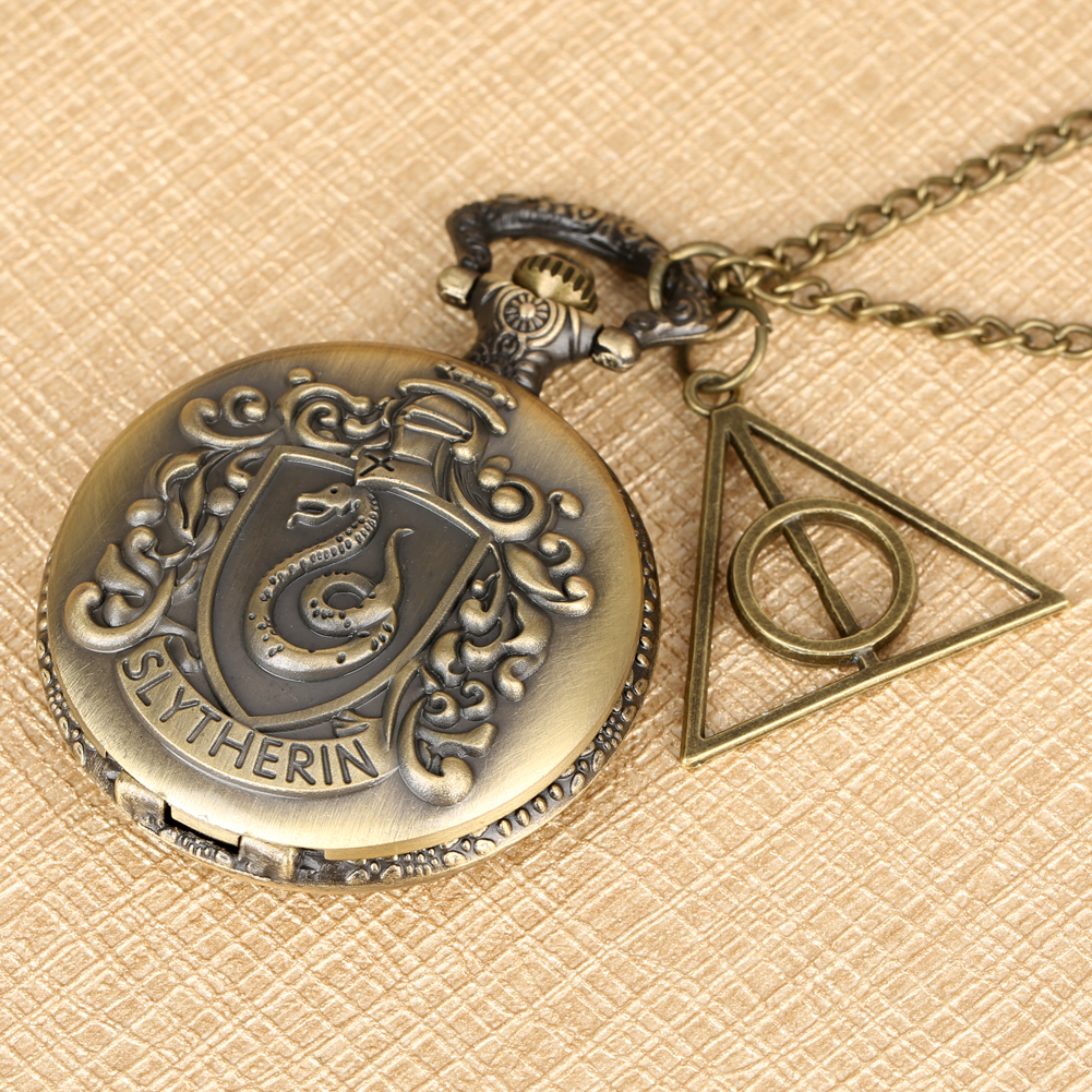 Harry Hogwarts College Slytherin Theme Bronze Necklace Pendant Unique Christmas Gifts For Men Adults Reloj + Triangle Accessory