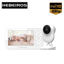 Hebeiros 1080P Battery Security Nanny Wireless Camera 4.3 Inch Video Baby Monitor Talk Back Night Vision Feeding Time Reminder
