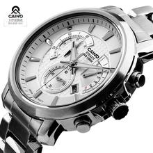 CAINO moda męska biznes zegarek kwarcowy na rękę luksusowa tarcza skórzany pasek marki wodoodporny zegarek sportowy męski Relogio Masculino tanie tanio CAINUOS 23cm Moda casual QUARTZ 10Bar Klamerka z zapięciem CN (pochodzenie) STOP 11mm SZAFIROWY KRYSZTAŁ Kwarcowe zegarki