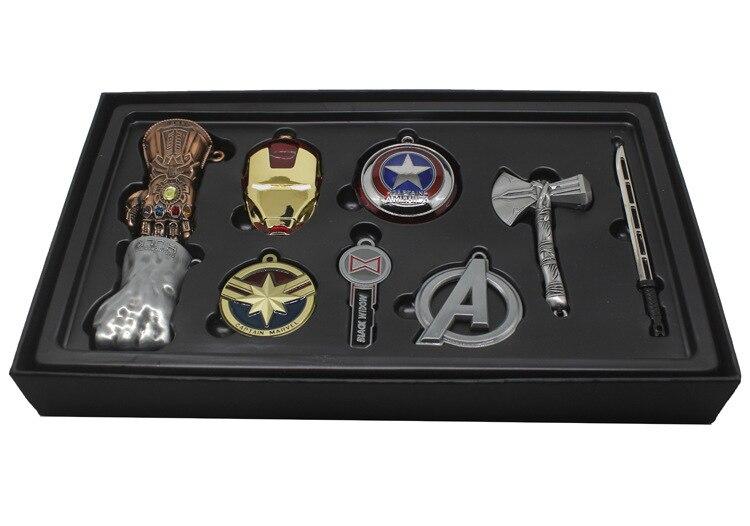Винтажные игрушки Marvel, Мстители, бесконечность, война, перчатка Таноса, бесконечность, рукавица, брелки, маска Железного человека, Халка, косплей, брелок, детский подарок - Цвет: new silver