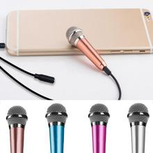 Portable 3.5mm Stereo Studio Mic KTV Karaoke Mini Handheld Microphone For Cell Phone Laptop PC Desktop 5.5cm*1.8cm Small Size