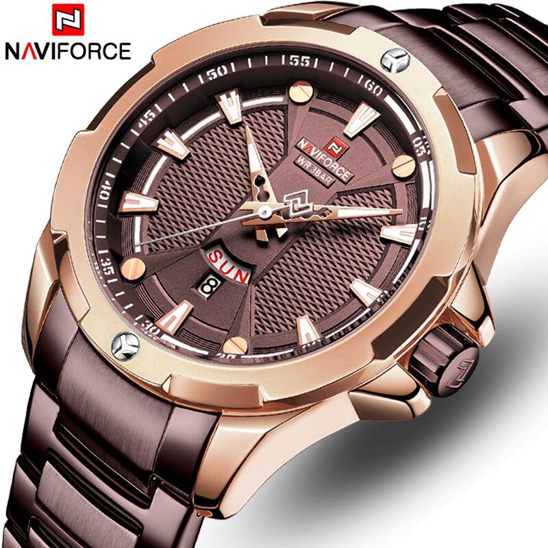 Relógio de Pulso de Quartzo Marca de Luxo Relógios dos Homens de Aço Inoxidável à Prova Naviforce Analog Moda Top d' Água Relógio Masculino Ver Men