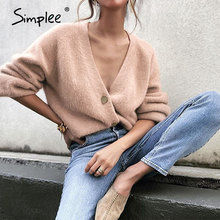 Simplee Casual v-neck short women knitted sweater Bat sleeve single-breasted female cardigan Solid color flexible ladies sweater