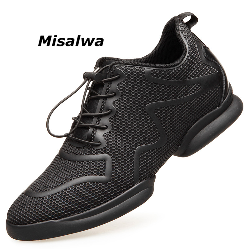 Misalwa Men 39 s Invisible Height Increasing Elevator Shoes Black Red Mesh Lace up Casual Fashion Sneakers 6CM Masculino Adulto in Men 39 s Casual Shoes from Shoes