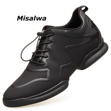 Misalwa Mens Invisible Height Increasing Elevator Shoes Black Red Mesh Lace-up Casual Fashion Sneakers 6CM Masculino Adulto