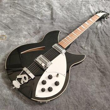 Guitarra eléctrica de alta calidad de 6 cuerdas, pintura negra, guitarra eléctrica de núcleo medio vacío de doble tambor, guitarra lujosa, envío gratis