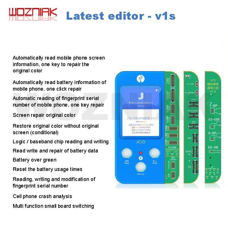 JC V1S V1 for IPHONE 7 8 8P X 11 PRO 최대 감광성 오리지널 컬러 터치 쇼크 배터리 지문 일련 번호 프로그래머