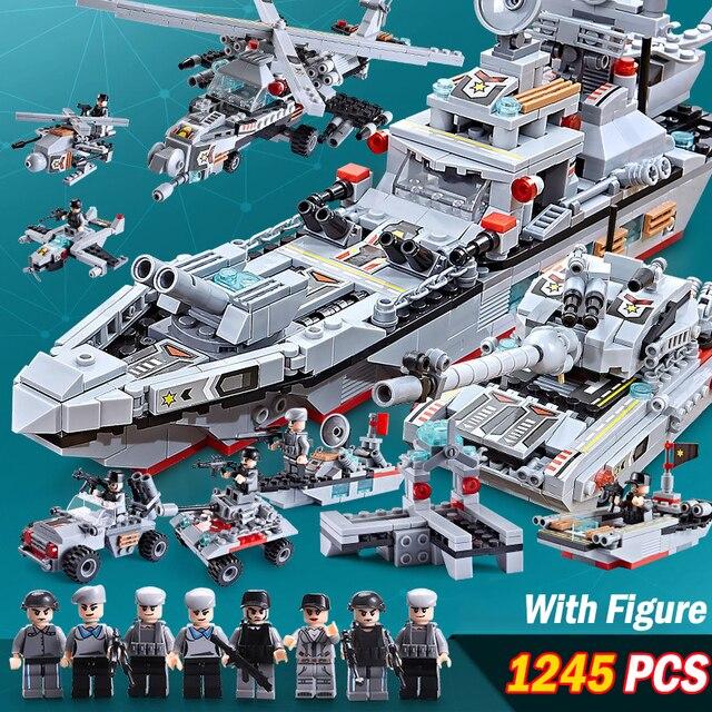 1245 PCS Military Warship Navy Aircraft Army Figures Building Blocks LegoINGlys Army Warship Construction Bricks Children Toys