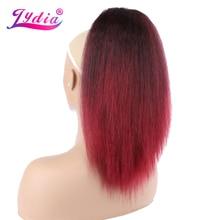 """Lydia isıya dayanıklı sentetik 14 """"sapıkça düz saç plastik tarak İpli at kuyruğu uzatma Mix renk saç parçaları"""