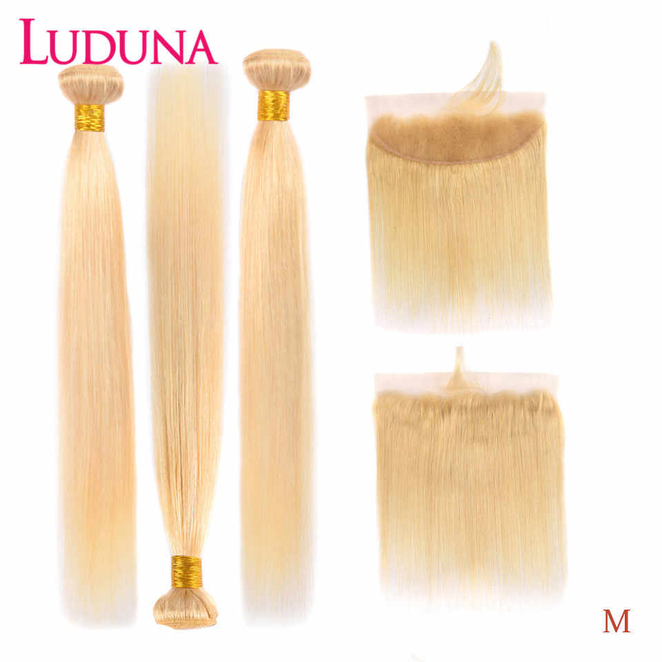 Luduna Blonde 613 Bundels Met Frontale Braziliaanse Straight Menselijk Haar Bundels Met Frontale 13*4 Remy Hair Extensions