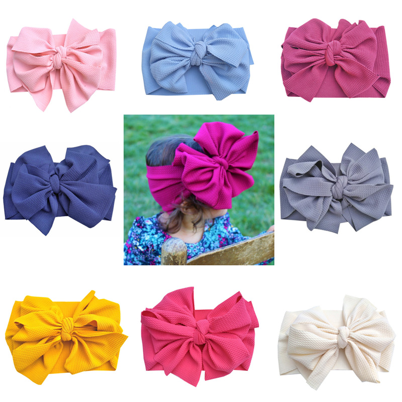 Double Bows Baby Headband Wide Infant Baby Girl Headband Birthday Party Headwear Baby Turban Big Bow Hair Accessories 15 Colors