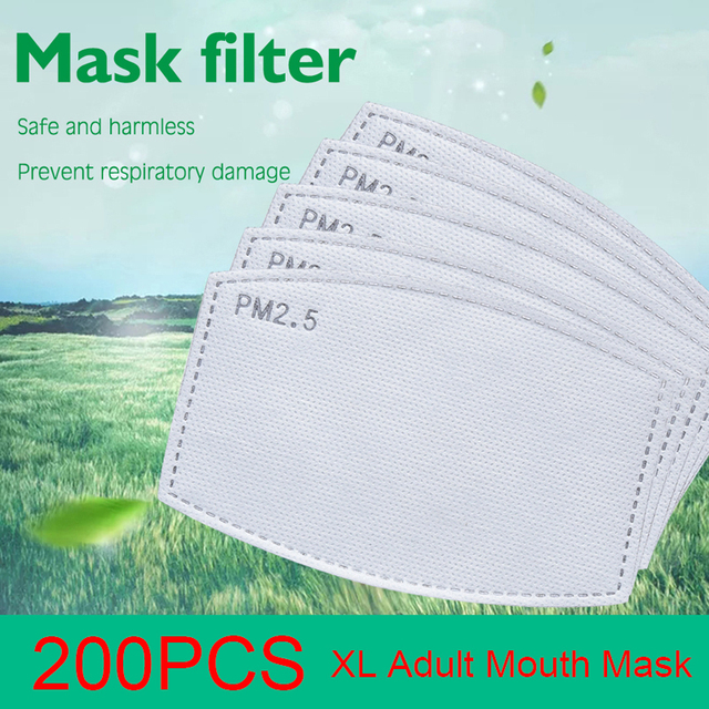 200PCS /Set 6 Layers PM2.5 Activated Carbon Masks XL Filter for Mouth Mask Filter Protective Filter Media Flu-proof Filter