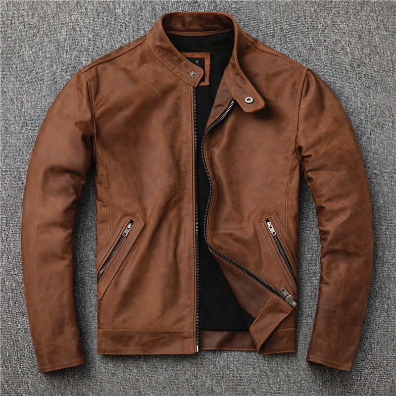 YR!Free Shipping.classic Casual Genuine Leather Jacket.cool Slim Cowhide Coat.plus Size Men Fashion Leather Jacket.