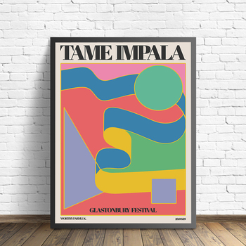 Tame Impala At Glastonbury Gig Poster Vintage Painting Retro Wall Pictures for Living Room Home Decor No Frame image