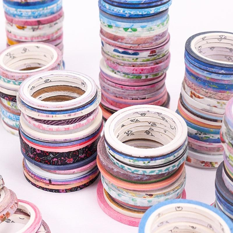 100 Rolls Washi Tape Foil Gold Skinny Decorative Masking Scrapbooking Washi Tapes DIY Handbook Masking Tape