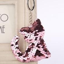 New fashion reflective sequin animal plant shape key ring pendant bag decoration car keychain