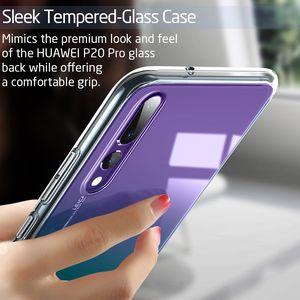 Image 4 - Coque de téléphone en verre trempé cristal ESR pour Huawei P20 couverture arrière complète pour Huawei P20 Pro Coque en verre de Silicone à bord souple