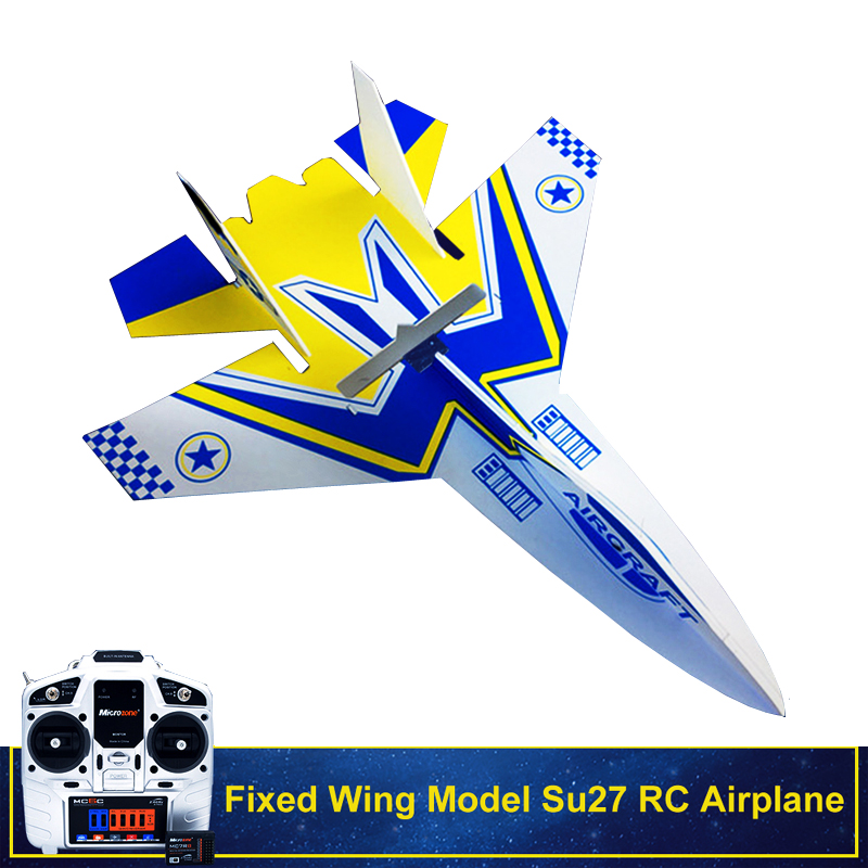Fixed Wing Model Su27 RC Airplane With Microzone MC6C Transmitter With Receiver And Structure Parts For DIY RC Aircraft