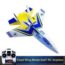 כנף קבועה דגם Su27 RC מטוס עם Microzone MC6C משדר עם מקלט ומבנה חלקי DIY RC מטוסים