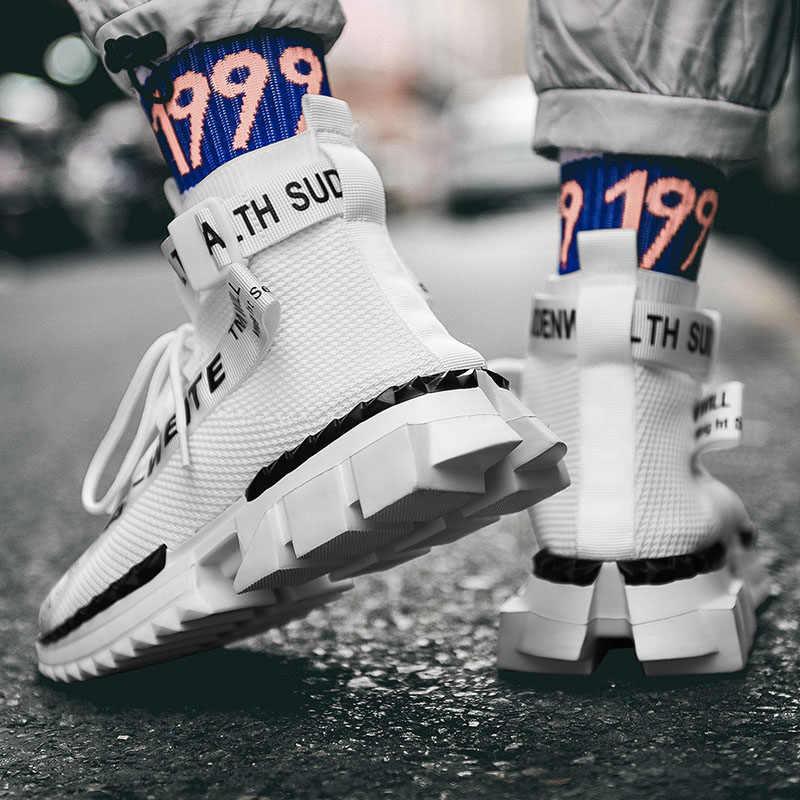 Moda yüksek Top çorap nefes günlük erkek ayakkabısı 2020 yeni erkek spor ayakkabı siyah ve beyaz yumuşak hafif büyük boy Zapatos Hombre