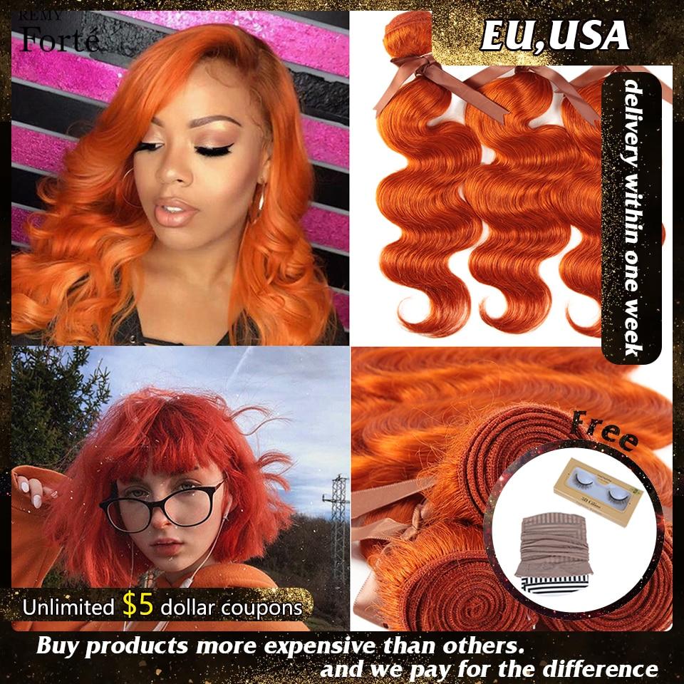 Remy Forte Human Hair Red Bundles Brazilian Hair Weave Bundles Orange Body Wave Human Hair Bundles 100% Remy Hair 3/4 Bundles