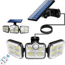 Lampada solare a LED per esterni impermeabile a 3 teste sensore di movimento 270 ghirlanda ad energia solare grandangolare a Led luce solare per giardino esterno