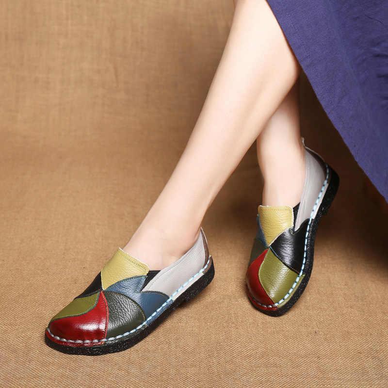 DONGNANFENG Nữ Nữ Nữ Người Phụ Nữ Mẹ Giày Đế Bằng Da Thật Cho Nữ Phối Nhiều Màu Sắc Không Trượt Trên Plus Size 35-42
