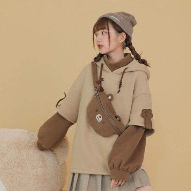 harajuku aesthetic bear anime hoodie women korean kawaii crewneck long sleeve oversized fall winter clothes kpop streetwear tops 2
