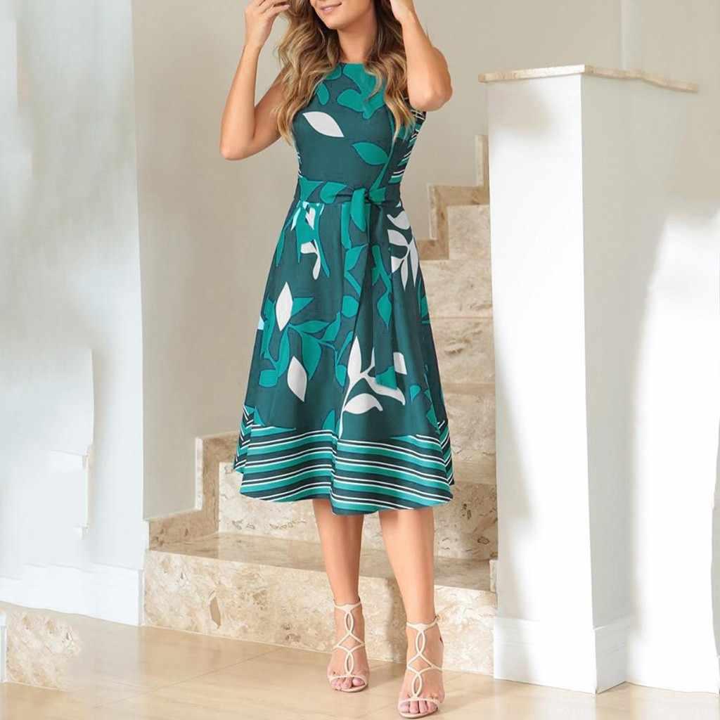 Mulher festa noite feminina redonda sem mangas folha impressão splice grande swing vestido com cinto vestidos de senhoras de noche