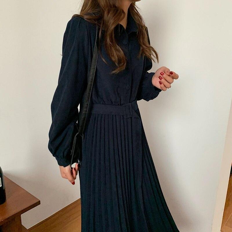 Hd306ec4f134e4d5d8f565a302ca679a4f - Autumn Turn-Down Collar Long Sleeves Pleated Solid Midi Dress