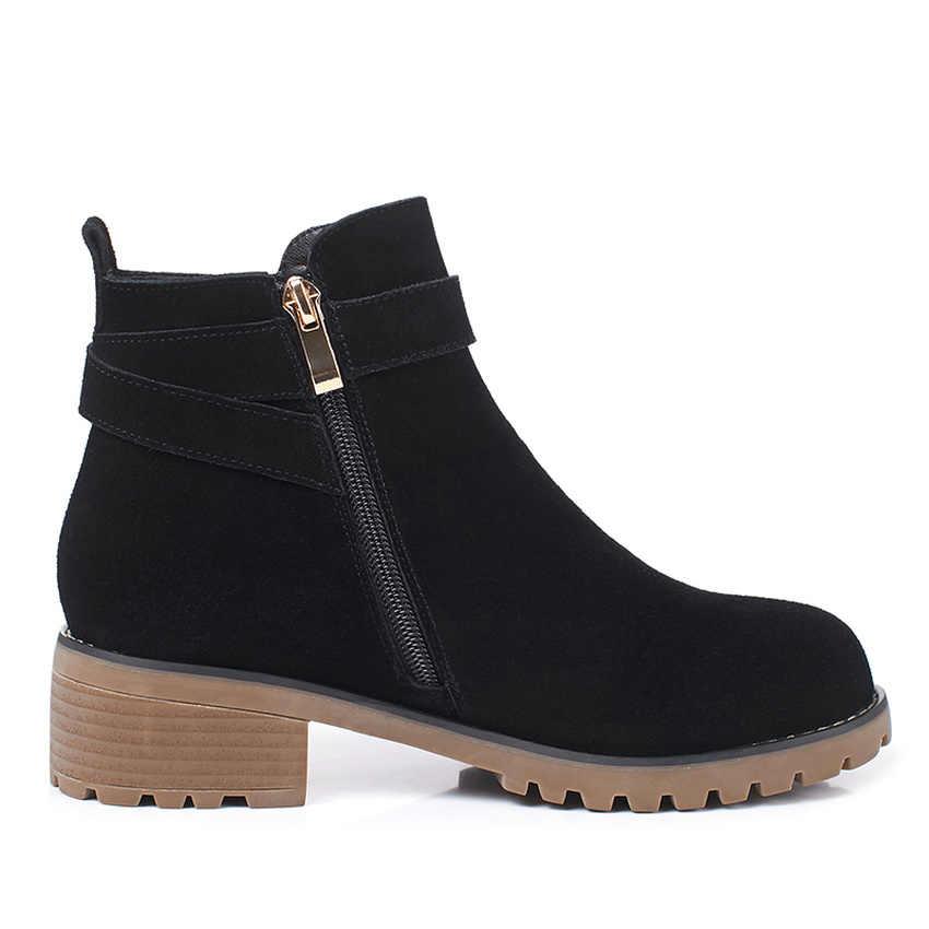 QUTAA 2020 Yuvarlak Ayak Kare Topuk Tüm Maç Rahat Kadın Ayakkabı Inek Süet Moda Toka Fermuar Antiskid yarım çizmeler Büyük Size34-43