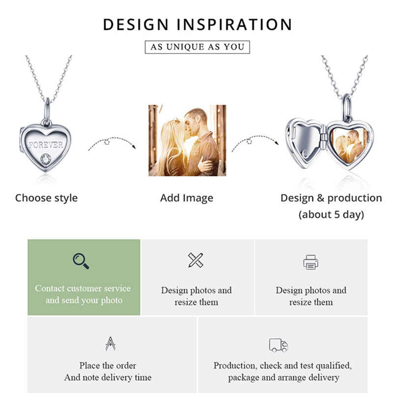 WOSTU 100% Plata de Ley 925 foto personalizada dije de corazón cabe en Original pulsera colgante collar DIY fabricación de joyas DC102