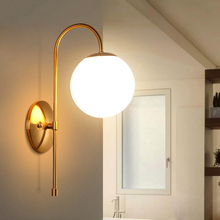 Modern Led Glass Wall Light Hotel Cafe Lamps Golden Fashion Lamp Lights Bedroom Hallway Decoration Lighting Luminaire