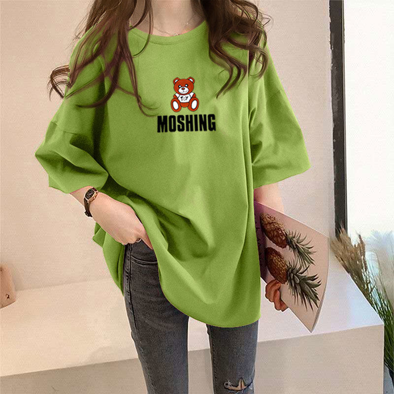 100% Cotton T-shirt Woman Summer Tops Short Sleeve Women Top Loose Fashion Plus Size T Shirt Fashion Korean Style Woman Shirt