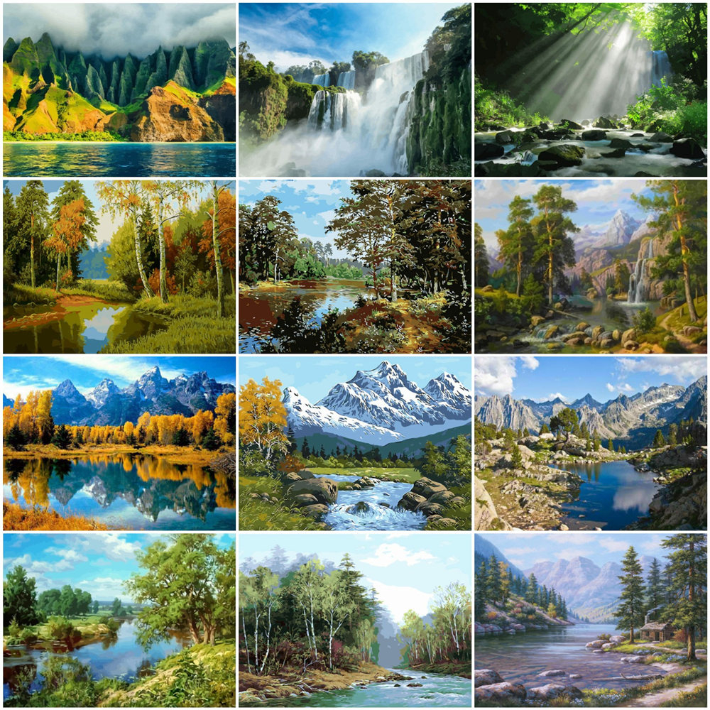 HUACAN Painting By Numbers Landscape Mountain Drawing On Canvas HandPainted Gift Picture By Number Tree Scenery Kits Home Decor