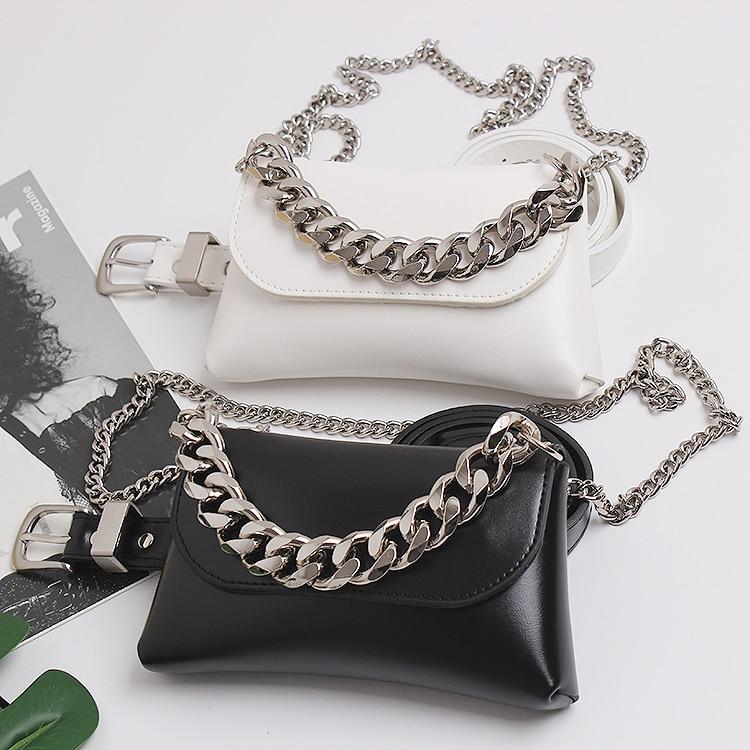 2020 High Quality PU Waist Packs Women White Black PU Leather Waist Belt Phone Bag Makeup Wallet Double Wide Chain Messenger Bag