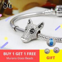 New 925 sterling silver Cute Dog Head Charms Beads with Clear CZ fit Pandora Orignal bracelet diy jewelry for Women gift