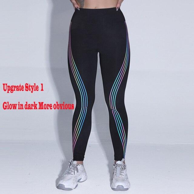 Women's Casual Slim Iridescent Reflective Material Printed Fitness Leggings Slim Stretch Elastic Glow in Dark Pants Trousers 5