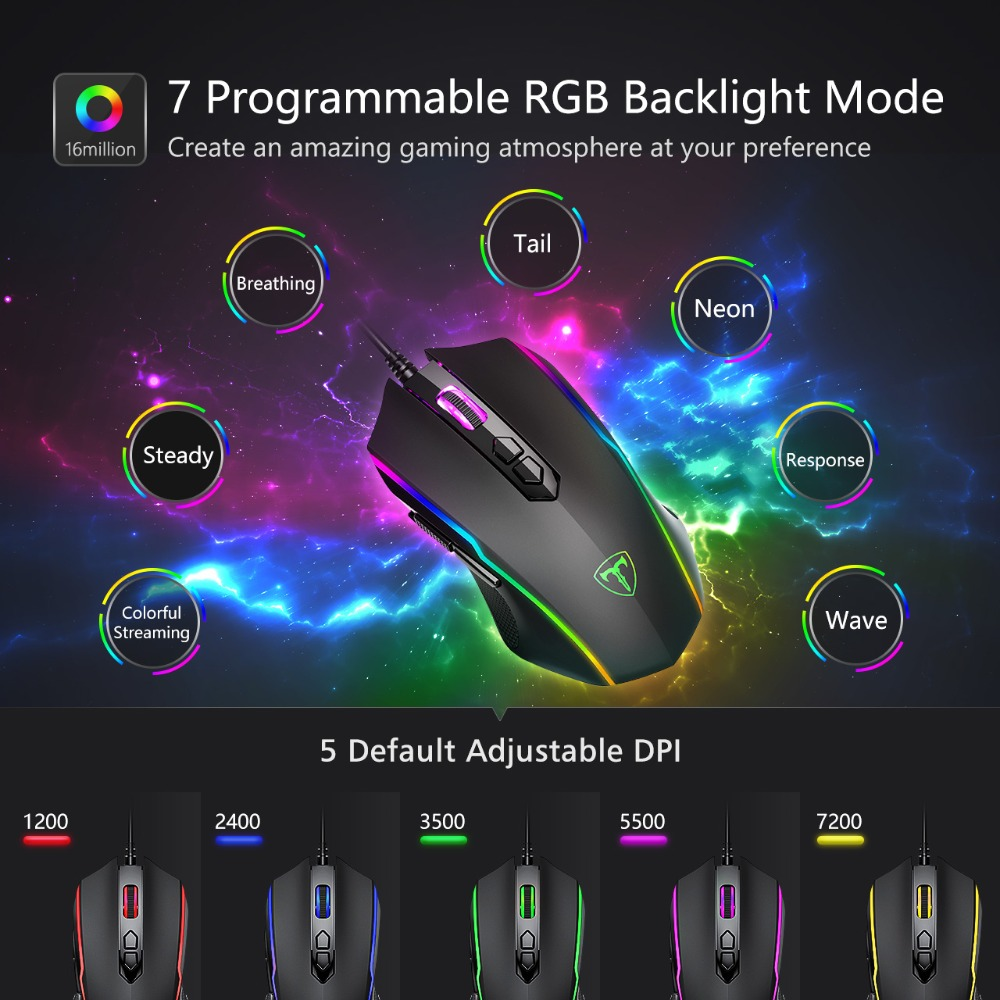 VicTsing PC205 Wired Gaming Mouse 8 Programmable Button 7200 DPI USB Computer Mouse Gamer Mice With RGB Backlight For PC Laptop (2)