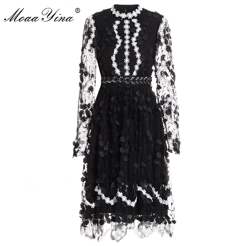 MoaaYina Fashion Designer Runway Dress Spring Summer Women Dress Long Sleeve Mesh Embroidery Lace Applique Black Elegant Dresses