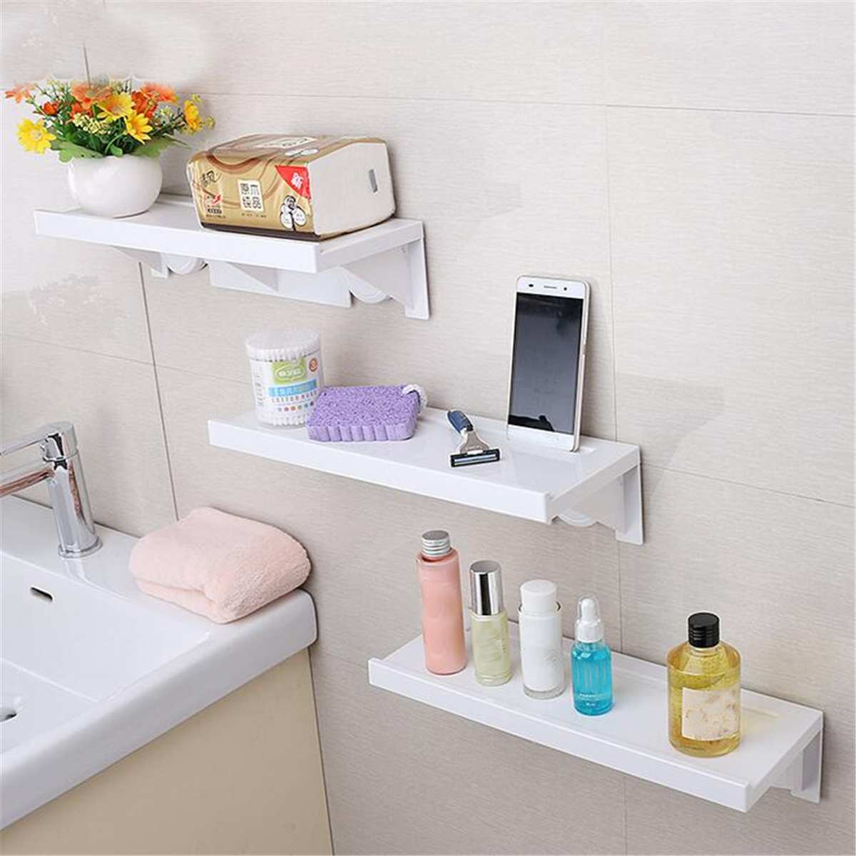 5kg Bathroom Wall Hanging Shelf Caddy Storage Holder Shower Rack Shelf Shampoo Organiser Suction Cups Free Punching White