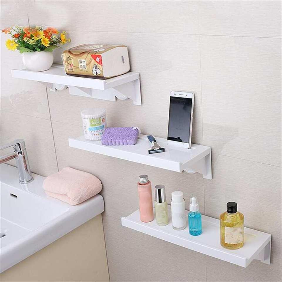 5kg Bathroom Wall Hanging Shelf Caddy Storage Holder Shower Rack Shelf Shampoo Organiser Suction Cups Free Punching White Storage Shelves Racks Aliexpress