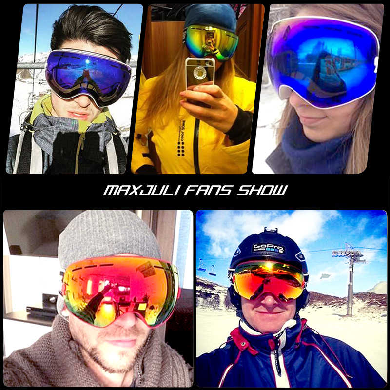 Лыжные очки, зимние спортивные премиум очки, со сменными линзами, антизапотевающие, с УФ-защитой, для мужчин и женщин, молодежные