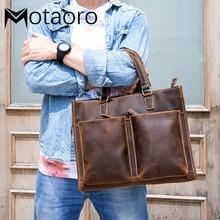 Crazy Horse Leather Men's Handbag Male Briefcase Computer Shoulder Bag Luxury Handbags Men Bags Designer Laptop Bag Bolso Hombre